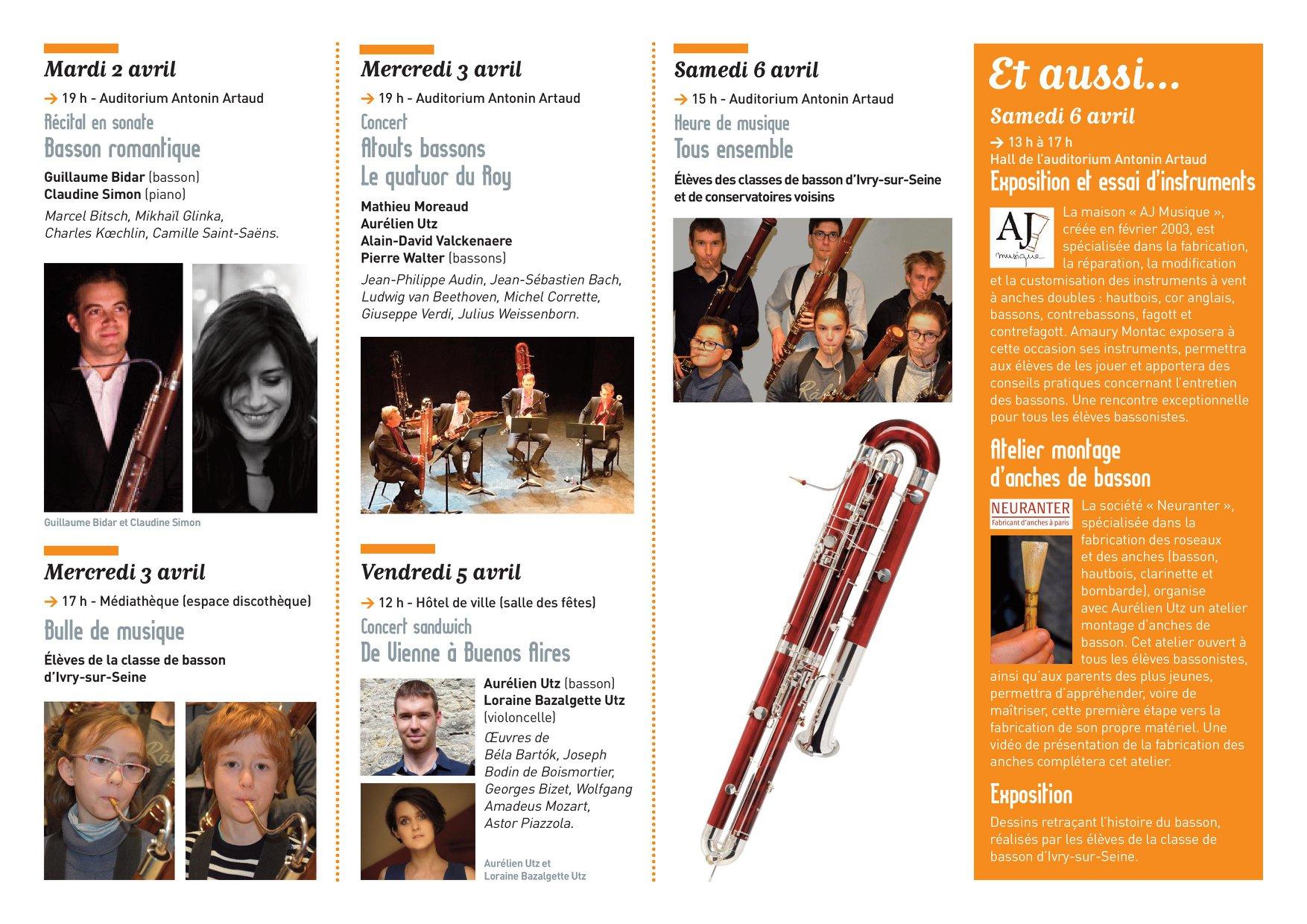 Semaine du basson à Ivry-sur-Seine du 2 au 6 avril.