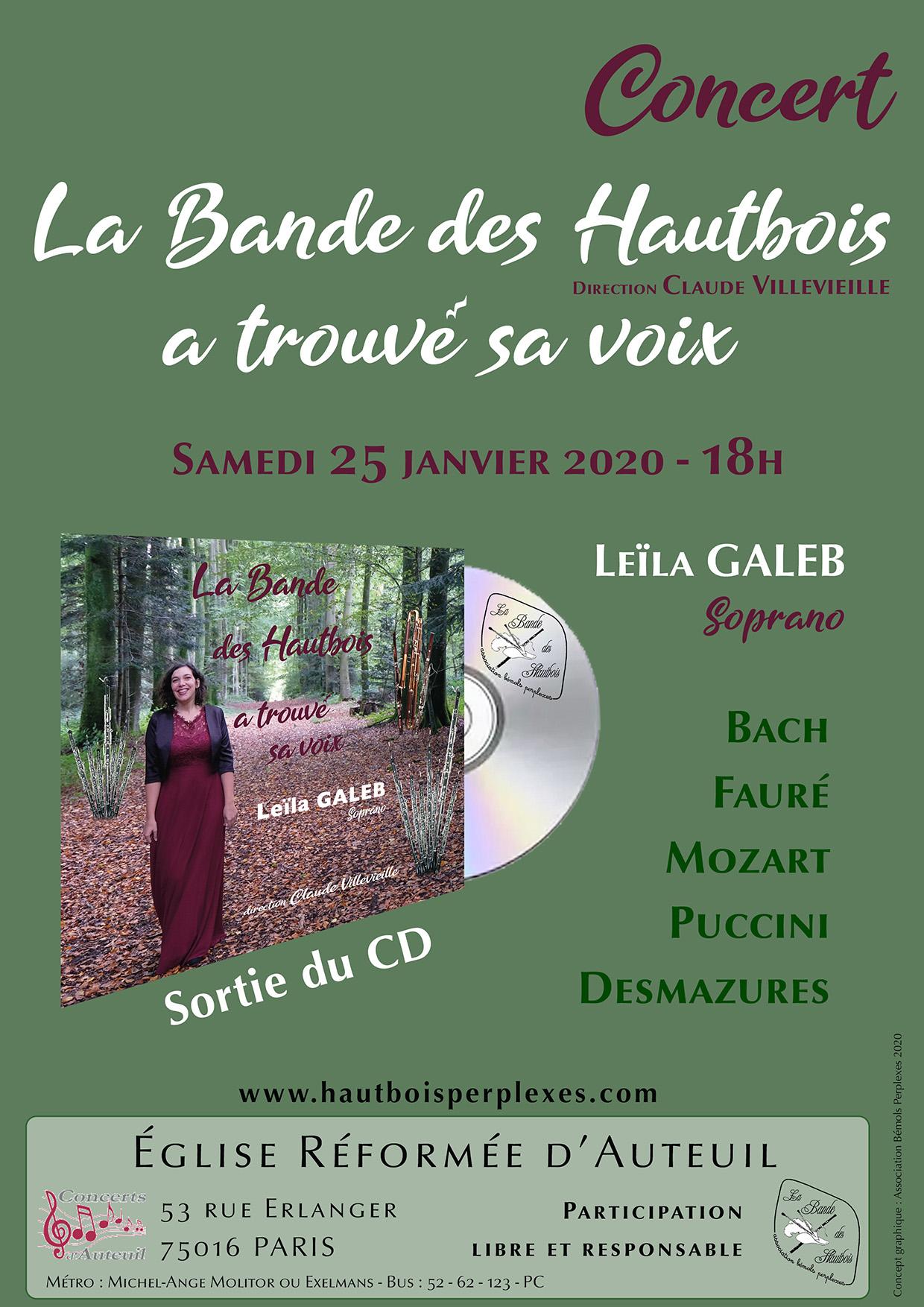 Concert de la Bande des Hautbois les 25 et 26 janvier