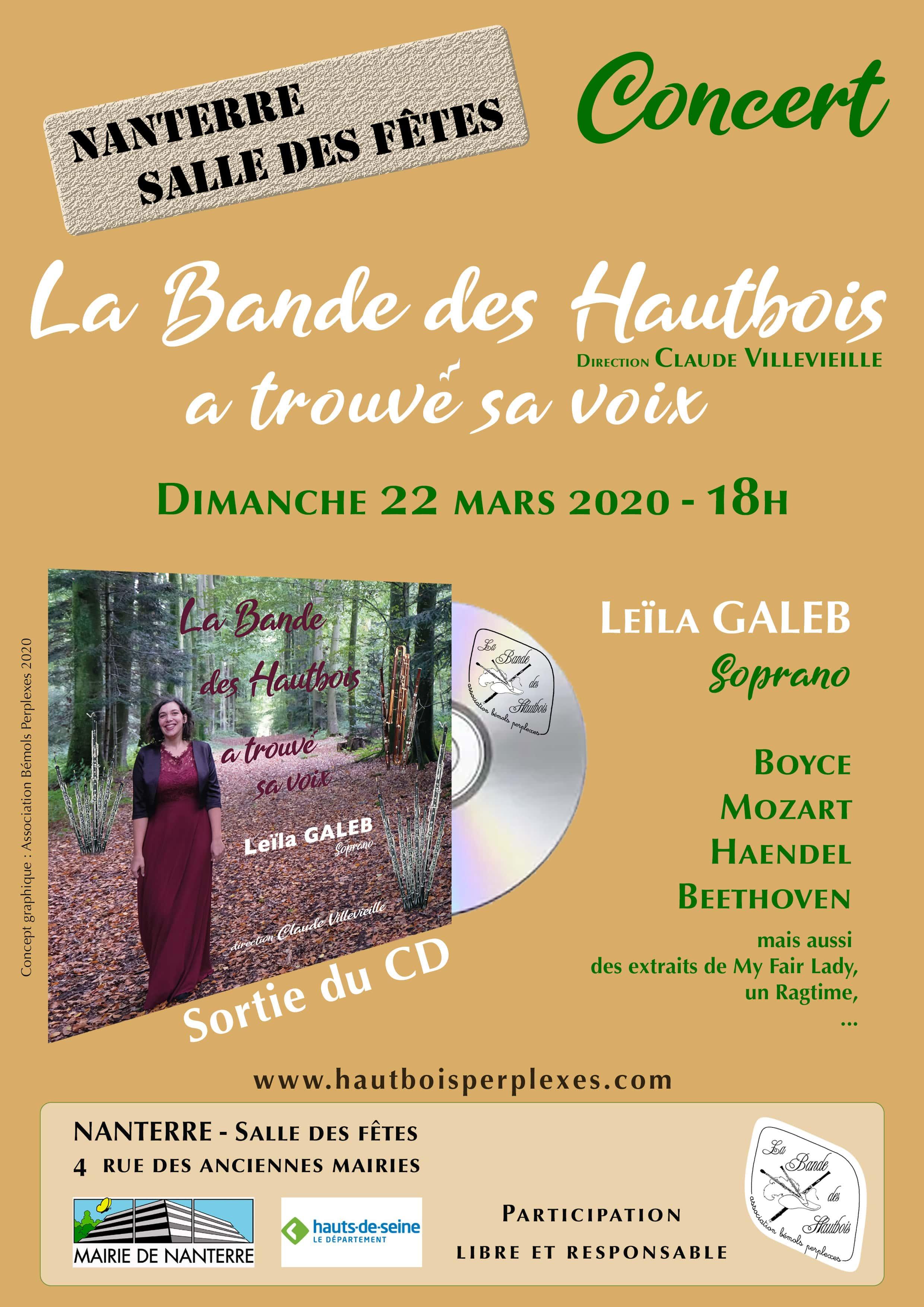 Concert de La Bande des Hautbois le 22 mars à 18h à Nanterre