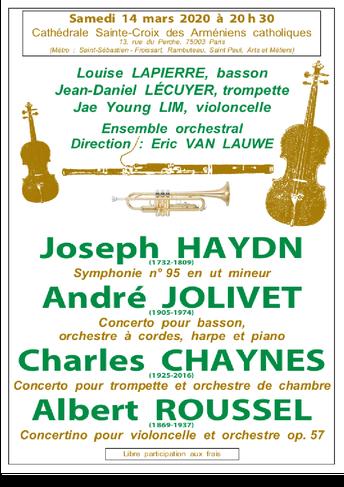 Concerto de Jolivet par Louise Lapierre le 14 mars à Paris