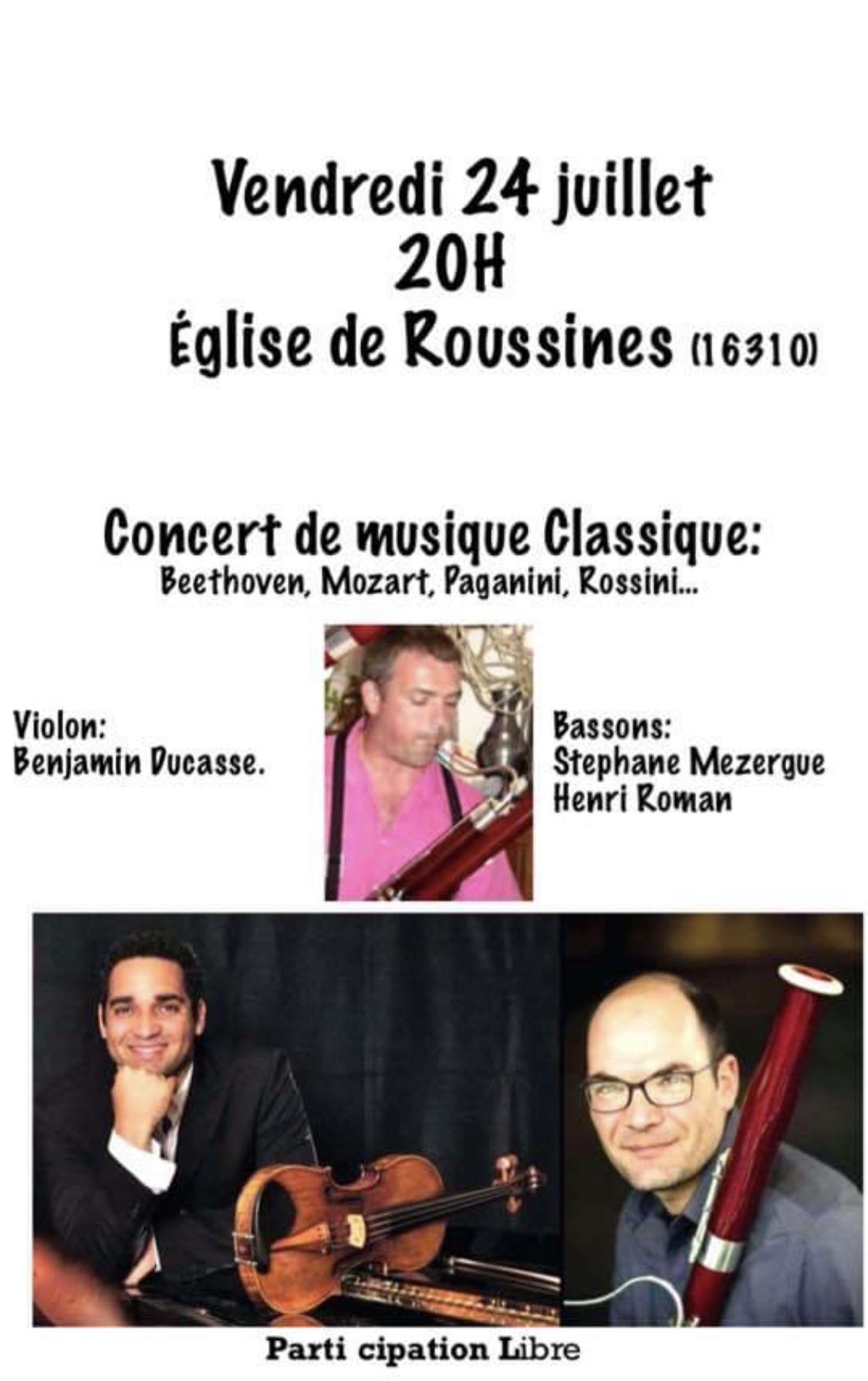 Concert le 24 juillet à l'église de Roussines (16310)