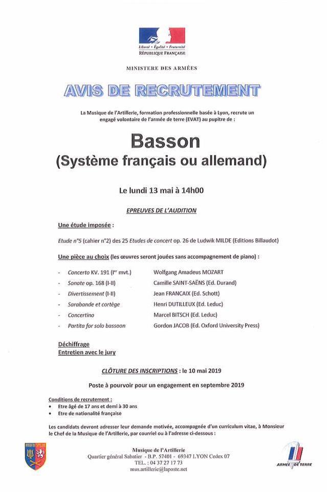 Recrutement d'un basson (système français ou allemand)