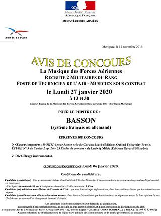 La Musique des Forces Aériennes de Bordeaux recrute 2 bassons (système français ou allemand)