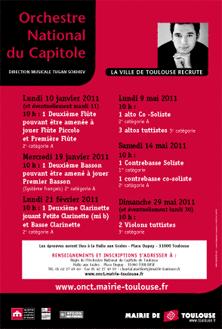 L'Orchestre National du Capitole de Toulouse recrute